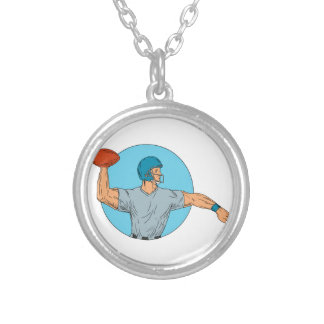 Quarterback QB Throwing Ball Motion Circle Drawing Silver Plated Necklace