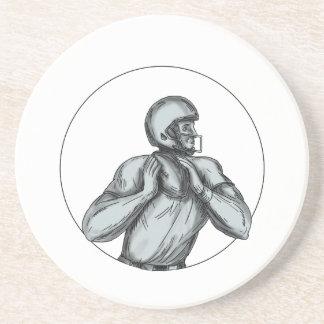 Quarterback QB Throwing Football Tattoo Coaster