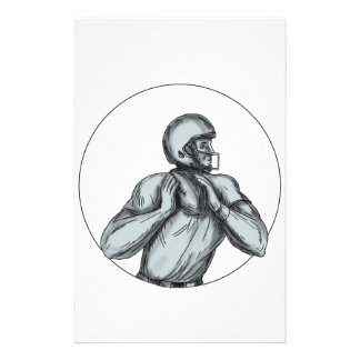 Quarterback QB Throwing Football Tattoo Stationery