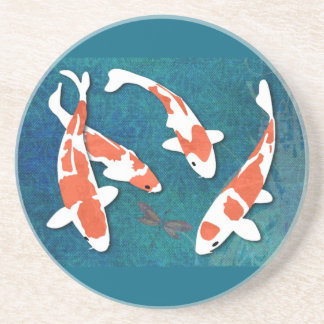 Quartet of Orange & White Kohaku Koi Coaster