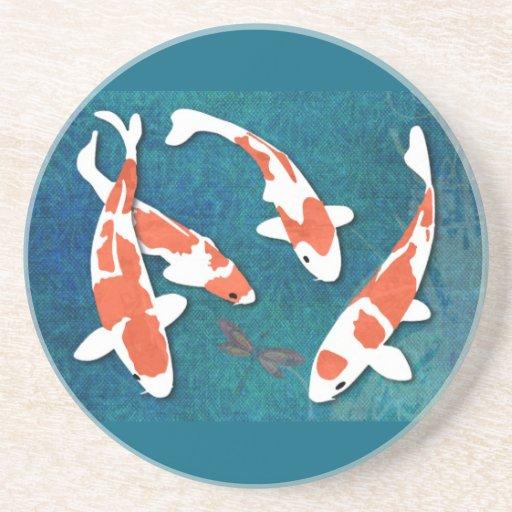 Quartet of Orange & White Kohaku Koi Drink Coasters
