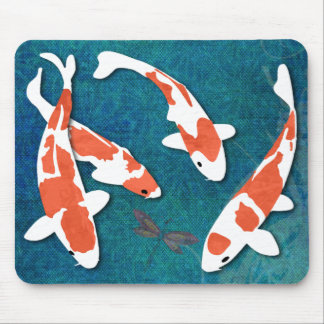 Quartet of Orange & White Kohaku Koi Mouse Pad
