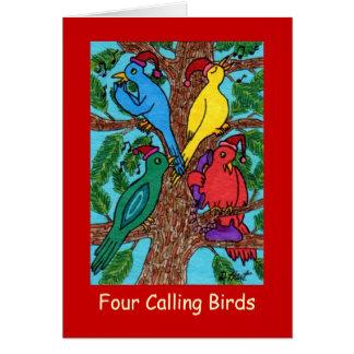 Quatre oiseaux appelants carte de vœux