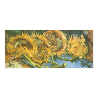 Quatre tournesols coupés par Vincent van Gogh, Carton D'invitation 10,16 Cm X 23,49 Cm