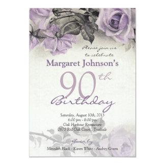 Quatre-vingt-dixième anniversaire d'argent carton d'invitation  12,7 cm x 17,78 cm