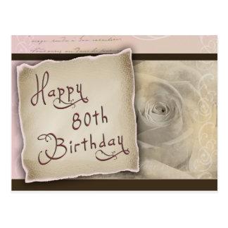 Quatre-vingtième salutations d'anniversaire carte postale