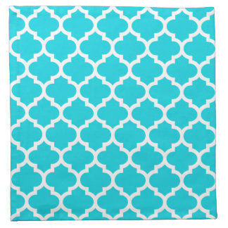 Quatrefoil Aqua Pattern Cloth Napkins