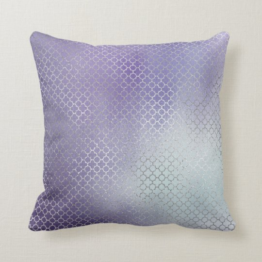 Quatrefoil Art Deco Silver Ombre Ocean Purple Throw Pillow