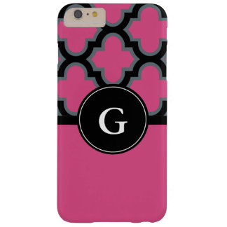 Quatrefoil black and hot pink monogram design barely there iPhone 6 plus case