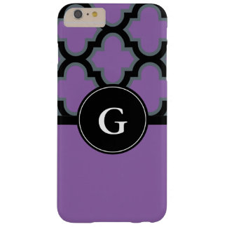 Quatrefoil black and purple monogram design barely there iPhone 6 plus case