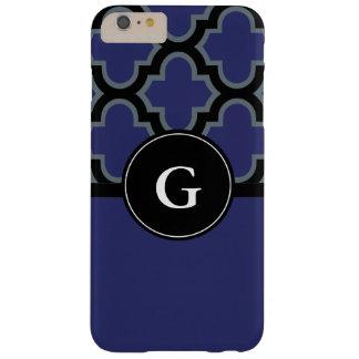 Quatrefoil black and royal blue monogram design barely there iPhone 6 plus case