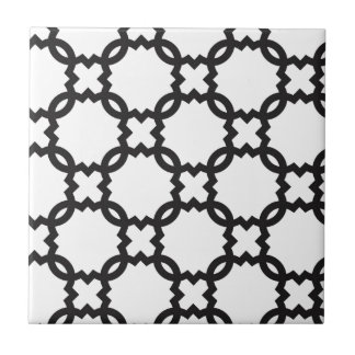 Quatrefoil Black and White | Customizable Tile