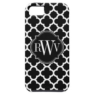 Quatrefoil Black and White Pattern Monogram iPhone 5 Case