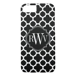 Quatrefoil Black and White Pattern Monogram iPhone 8/7 Case