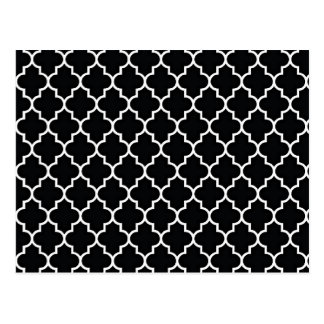 Quatrefoil Black and White Postcard