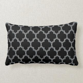 Quatrefoil Black White and Gray Pillows