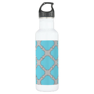 Quatrefoil blue and gray 710 ml water bottle