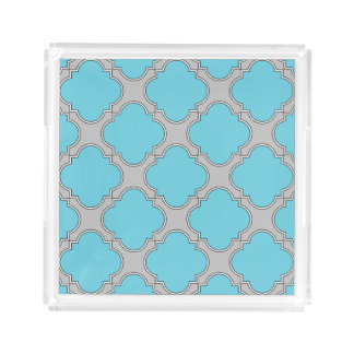 Quatrefoil blue and gray acrylic tray