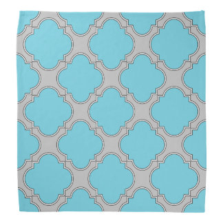Quatrefoil blue and gray bandana