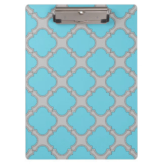 Quatrefoil blue and gray clipboard