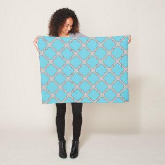 Quatrefoil blue and gray fleece blanket
