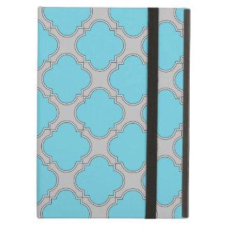 Quatrefoil blue and gray iPad air case