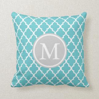 Quatrefoil Blue and Gray Pattern Monogram Throw Pillow