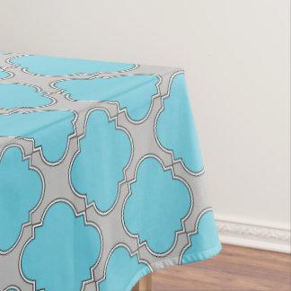 Quatrefoil blue and gray tablecloth