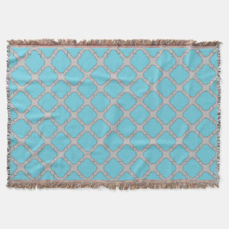 Quatrefoil blue and gray throw blanket