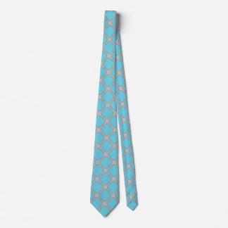 Quatrefoil blue and gray tie