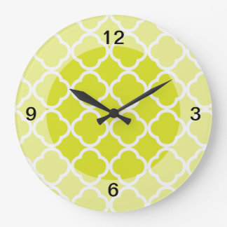 Quatrefoil Bright Lime Green Large Clock