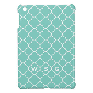 Quatrefoil clover pattern blue teal 3 monogram iPad mini cases