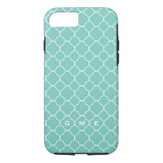 Quatrefoil clover pattern blue teal 3 monogram iPhone 7 case