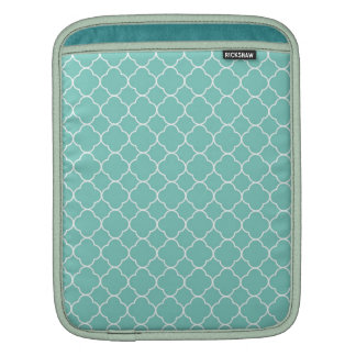 Quatrefoil clover pattern blue teal white fashion sleeves for iPads