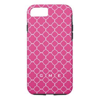 Quatrefoil clover pattern hot pink 3 monogram iPhone 7 case