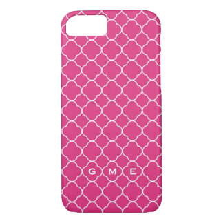 Quatrefoil clover pattern hot pink 3 monogram iPhone 7 case