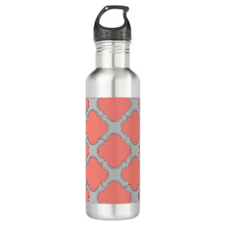 Quatrefoil coral and gray 710 ml water bottle