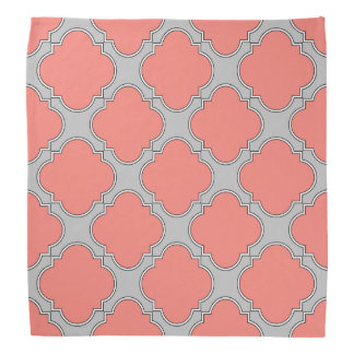 Quatrefoil coral and gray bandana