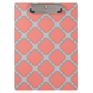 Quatrefoil coral and gray clipboard