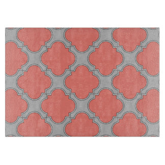 Quatrefoil coral and gray cutting board