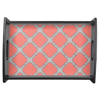Quatrefoil coral and gray serving tray