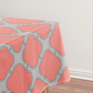 Quatrefoil coral and gray tablecloth
