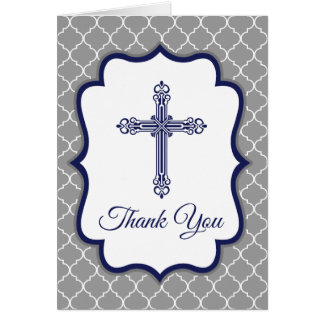 Quatrefoil Cross Baptism | Christening Thank You Card