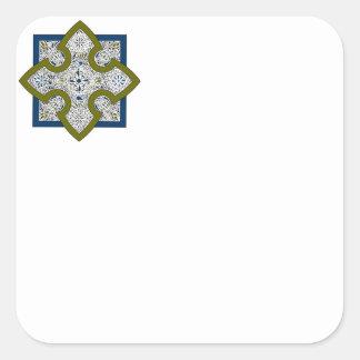 Quatrefoil Cross Square Sticker