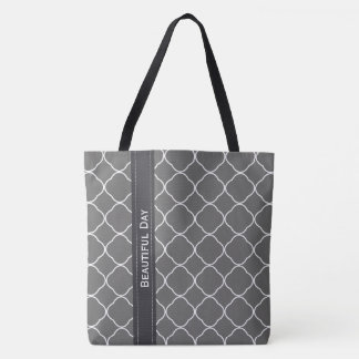 Quatrefoil customize  text and background color tote bag