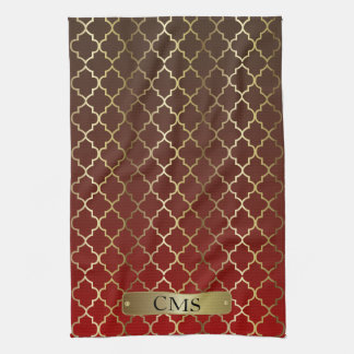 Quatrefoil Dark Red & Brown Color Blends Kitchen Towel