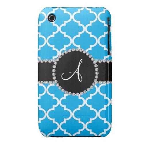 Quatrefoil de Marocain de bleu de ciel de monogram Coque iPhone 3 Case-Mate