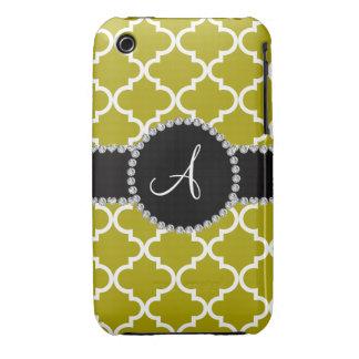 Quatrefoil de Marocain d'or de moutarde de monogra Coque Case-Mate iPhone 3