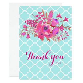 Quatrefoil flower modern elegant fashion thank you card