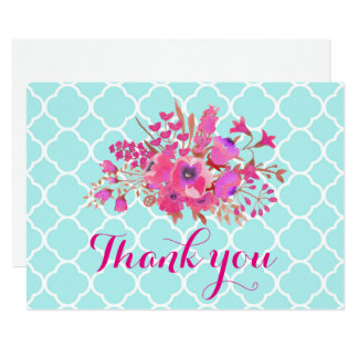 Quatrefoil flowers elegant modern chic thank you card